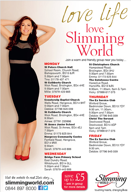Whats on bristol print advert Slimming world website please