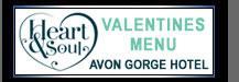 Valentines Menu at the Avon Gorge Hotel